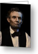 Military Pictures Greeting Cards - Abraham Lincoln Portrait Greeting Card by Ray Downing