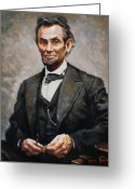 President Painting Greeting Cards - Abraham Lincoln Greeting Card by Ylli Haruni