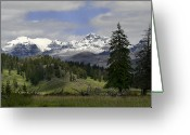 Snow Capped Digital Art Greeting Cards - Absaroka Mts Wyoming Greeting Card by Shari Jardina