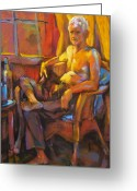 Man Pastels Greeting Cards - Absinthe Drinker Greeting Card by Joan  Jones