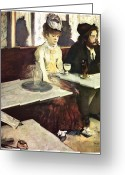 Man And Woman Greeting Cards - Absinthe Greeting Card by Edgar Degas