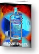 Bottle Cap Greeting Cards - Absolut Psychedelic Greeting Card by Chuck Staley
