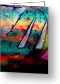 Vibrant Mixed Media Greeting Cards - Abstract 32 Greeting Card by John  Nolan