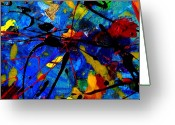 Vibrant Mixed Media Greeting Cards - Abstract 39 Greeting Card by John  Nolan