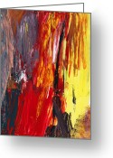 Yellows Greeting Cards - Abstract - Acrylic - Rising power Greeting Card by Mike Savad