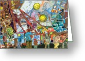 Recreation Mixed Media Greeting Cards - Abstract Amusement Park Greeting Card by Mindy Newman