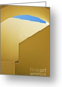 Abstract Building Greeting Cards - Abstract Architecture In Yellow Greeting Card by Meirion Matthias