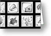 Illustrative Drawings Greeting Cards - Abstract Art Contemporary Coastal Sea Shell Sketch Collection by MADART Greeting Card by Megan Duncanson