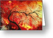 Rust Greeting Cards - Abstract Art Floral Tree Landscape Painting FRESH BLOSSOMS by MADART Greeting Card by Megan Duncanson