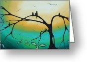 Huge Greeting Cards - Abstract Art Landscape Bird Painting FAMILY PERCH by MADART Greeting Card by Megan Duncanson