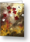 Florida Flowers Greeting Cards - Abstract Art Original Flower Painting FLORAL ARRANGEMENT by MADART Greeting Card by Megan Duncanson