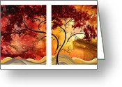 Brown Leaves Greeting Cards - Abstract Art Original Landscape Painting SWEET EMBRACE by MADART Greeting Card by Megan Duncanson