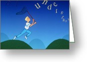 Disability Greeting Cards - Abstract Artwork Of A Dyslexic Boy Chasing Words Greeting Card by David Gifford