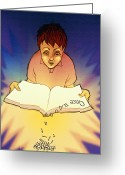 Disability Greeting Cards - Abstract Artwork Of A Dyslexic Boy Reading A Book Greeting Card by David Gifford