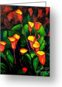 Carolinestreet Greeting Cards - Abstract Arums Greeting Card by Caroline Street