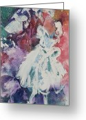 White Dress Mixed Media Greeting Cards - Abstract-Ballerina Greeting Card by Sandra Gittleson