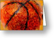 Balls Digital Art Greeting Cards - Abstract Basketball Greeting Card by David G Paul