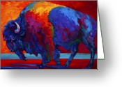 Buffalo Painting Greeting Cards - Abstract Bison Greeting Card by Marion Rose
