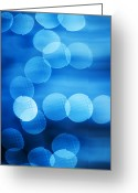 Vertical Abstract Greeting Cards - Abstract Blue Spots Of Light Greeting Card by Brian Stablyk