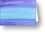 Purples Greeting Cards - Abstract Blues Greeting Card by Marsha Heiken