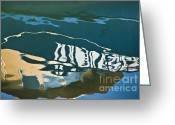 Marine Greeting Cards - Abstract Boat Reflection Greeting Card by Dave Gordon