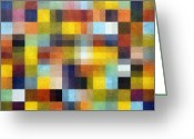 Blue Quilts Greeting Cards - Abstract Boxes with Layers Greeting Card by Michelle Calkins