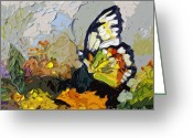 Ginette Fine Art Llc Ginette Callaway Greeting Cards - Abstract Butterfly on Lantana Greeting Card by Ginette Fine Art LLC Ginette Callaway