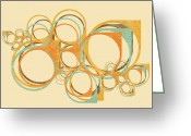 Paper Mixed Media Greeting Cards - Abstract Circle Greeting Card by Setsiri Silapasuwanchai