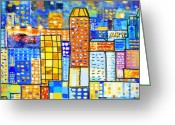 Geometric Digital Art Greeting Cards - Abstract City Greeting Card by Setsiri Silapasuwanchai