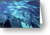 Futuristic Greeting Cards - Abstract Collage Of Oozing Blue Shades With White Highlights On Dark Blue Background Greeting Card by Fernando Palma