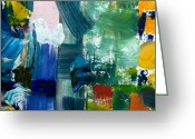Graffiti Greeting Cards - Abstract Color Relationships lll Greeting Card by Michelle Calkins
