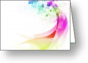 Ethereal Water Greeting Cards - Abstract colorful curved Greeting Card by Setsiri Silapasuwanchai