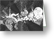 Monochrome Mixed Media Greeting Cards - Abstract Composition Greeting Card by Natoly Art