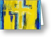 Crucifix Art Greeting Cards - Abstract Crosses Greeting Card by David G Paul