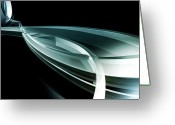 Metallic Greeting Cards - Abstract Curved Lines, Leaf Shape Greeting Card by Ralf Hiemisch