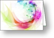 Ethereal Water Greeting Cards - Abstract curved Greeting Card by Setsiri Silapasuwanchai