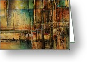 Vertical Painting Greeting Cards - Abstract design 105 Greeting Card by Michael Lang