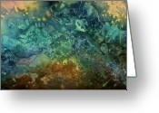 Blues And Greens Greeting Cards - Abstract Design 27 Greeting Card by Michael Lang