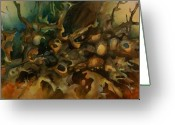 Expressionism Earth Greeting Cards - Abstract Design 90 Greeting Card by Michael Lang
