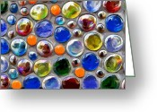 Curve Ball Greeting Cards - Abstract digital art multi colored glass balls Greeting Card by Aleksandr Volkov