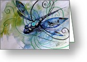 Abstract Sky Greeting Cards - Abstract Dragonfly 10 Greeting Card by J Vincent Scarpace
