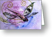 Abstract Sky Greeting Cards - Abstract Dragonfly 6 Greeting Card by J Vincent Scarpace