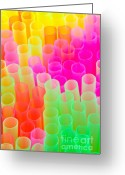 Abstract Bright Color Greeting Cards - Abstract Drinking Straws Greeting Card by Meirion Matthias