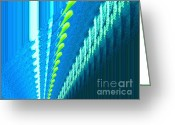 Lime Photo Greeting Cards - Abstract Fabric Greeting Card by Marsha Heiken