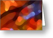 Red Abstract Greeting Cards - Abstract Fall Light Greeting Card by Amy Vangsgard