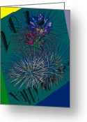 Happy New Year Greeting Cards - Abstract Fireworks for 2012 Greeting Card by DigiArt Diaries by Vicky Browning