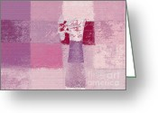 Wall Greeting Cards - Abstract Floral - 11v3t09 Greeting Card by Variance Collections