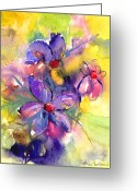 Purples Greeting Cards - abstract Flower botanical watercolor painting print Greeting Card by Svetlana Novikova