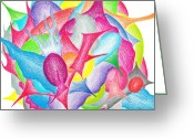 Lime Drawings Greeting Cards - Abstract flower Greeting Card by Jera Sky