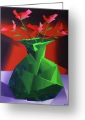Red Roses Greeting Cards - Abstract Flower Vase Prism Acrylic Painting Greeting Card by Mark Webster